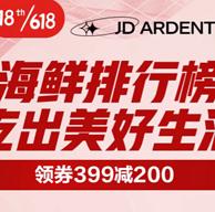 618狂欢:京东自营 399-200/299-150生鲜神券