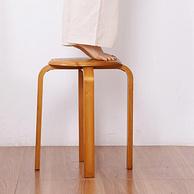 多功能叠放不占地,加固环保:柜太太 家用实木圆凳