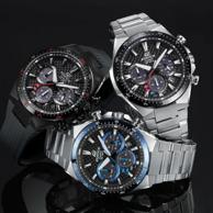 Casio 卡西欧 Edifice系列 EQS-800CDB-1AVCF 男士三眼计时太阳能手表