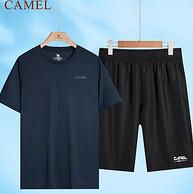 骆驼男装 速干透气 运动T恤+短裤 两件套