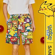 宝可梦联名款,三福 皮卡丘 男士夏季宽松薄款沙滩短裤