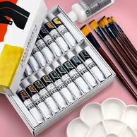 Marie's 马利 丙烯颜料套装 12色 送3支画笔+调画盘