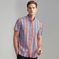 换季清仓,中国驰名商标,100%精梳纯棉:富绅 立领格子短袖衬