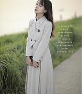 神仙club JK制服 日系学院风套装 小西装+背心裙 杏色