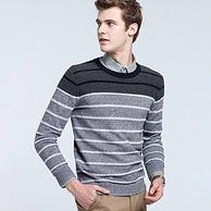 100%纯棉,12针紧密细密保暖:骆驼 男士 立体条纹撞色时尚打底针织衫