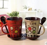 三塘陶瓷 陶瓷带勺马克杯 360ml 多款