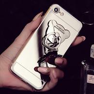 带指环:苹果iPhone镜面小熊手机壳 6~7P