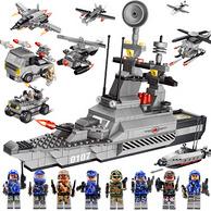 兼容乐高!qunlong拼装玩具军事积木益智航母模型