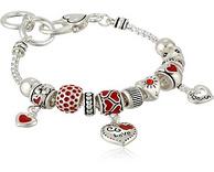 限中亚Prime会员:Amazon Collection 银色魅力之心串珠手链手镯*2个
