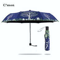 C'mon 小清新三折叠黑胶晴雨伞