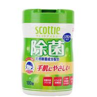 日本原产进口:SCOTTIE可莱雅 无酒精除菌卫生湿巾桶装100抽/桶