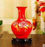 欢畅 景德镇出品 中国红金牡丹花瓶