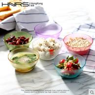 HNRS 韩纳斯 彩色透明无铅玻璃碗6只