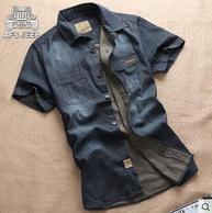 战地吉普 夏季薄款 纯棉牛仔衬衫