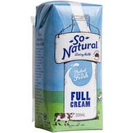 澳洲进口 So Natural 全脂纯牛奶200ML*24盒*4箱