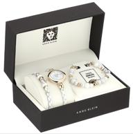 金盒特价,Anne Klein 大理石纹腕表+手链套装