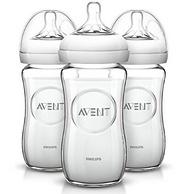 小编已下单!Prime会员:AVENT 新安怡 宽口径 自然原生玻璃奶瓶240ml*3只