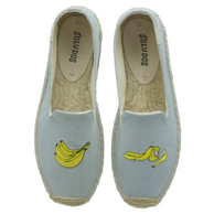 Soludos 刺绣香蕉草编鞋 懒人鞋