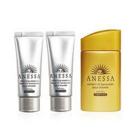 17年新版,Shiseido资生堂 安耐晒 黄金防晒三件套(金瓶 60ml+银色软管 40g*2支)