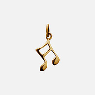 Lily Charmed 纯银镀金 金色音符吊坠项链