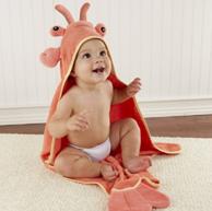 Baby Aspen 婴儿连帽可爱龙虾纯棉浴袍