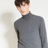 马克华菲 17新款男士纯色高领简约针织衫
