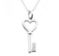 新低!TIFFANY & Co  Heart key 吊坠钥匙形项链 41cm