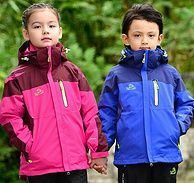 YKK拉链,防水指数大于10000mm! PELLIOT伯希和  儿童款三合一冲锋衣