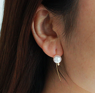 Pearlyuumi Akoya海水珍珠 金线耳钉 8.5-9mm K18黄金