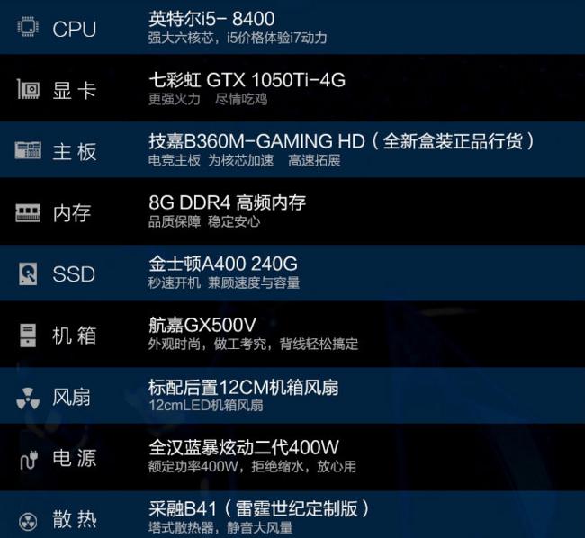 雷霆世紀 復仇者V135S 臺式主機(i5-8400、8GB、240GB、GTX1050Ti 4G) 4148元(長期售價4699元) 買手黨-買手聚集的地方