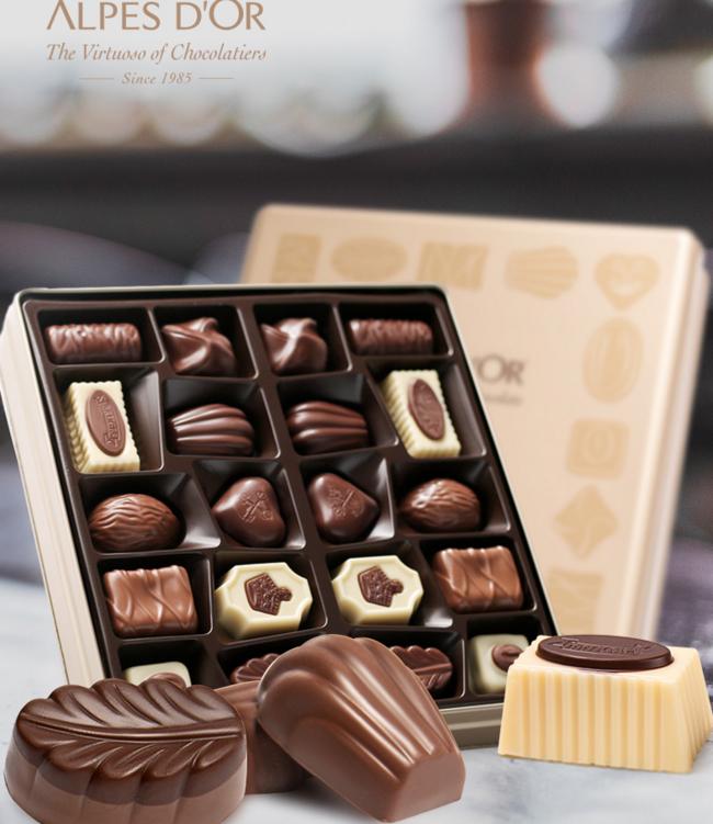 降10元!含10种口味,比利时进口,爱普诗 升级版铁盒装巧克力 216g 88元包邮 送礼袋+空白贺卡 买手党-买手聚集的地方
