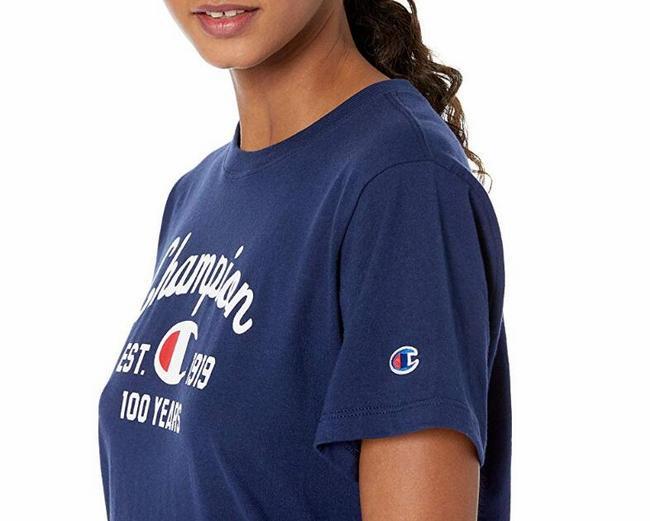 限M码、蓝色款:Champion/冠军 女士 100周年纪念款针织T恤 Prime凑单98元直邮到手 买手党-买手聚集的地方
