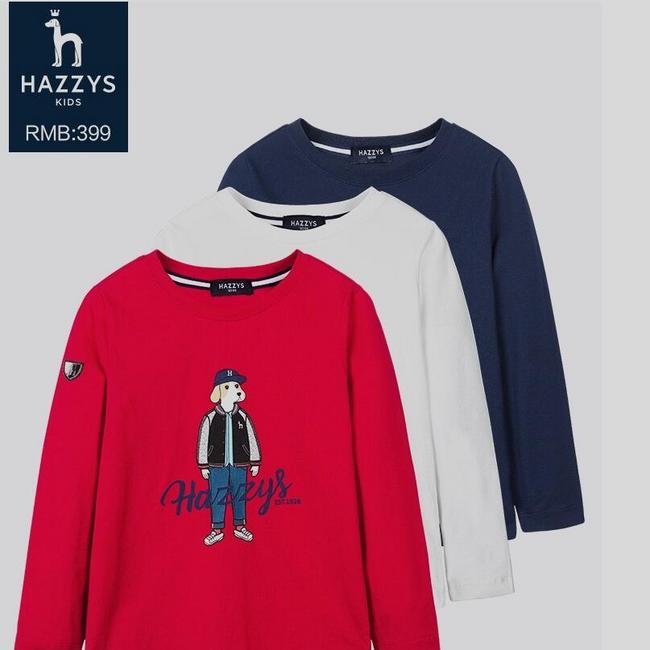 韩国潮牌,HAZZYS/哈吉斯 男女童 纯棉长袖套头T恤 凑单约合109元包邮(吊牌价399元) 买手党-买手聚集的地方