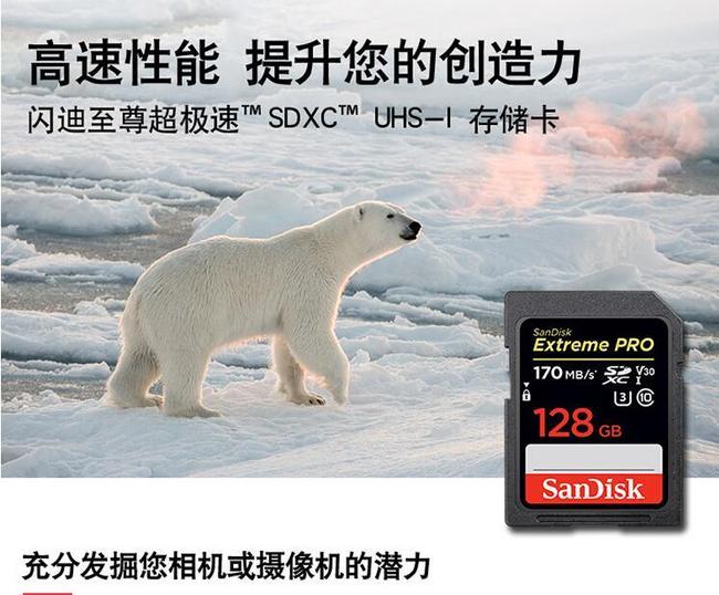 史低!读170mb/s,写90mb/s:SanDisk闪迪 128GB 4K至尊超极速SD存储卡 249元包邮(天猫279元) 买手党-买手聚集的地方