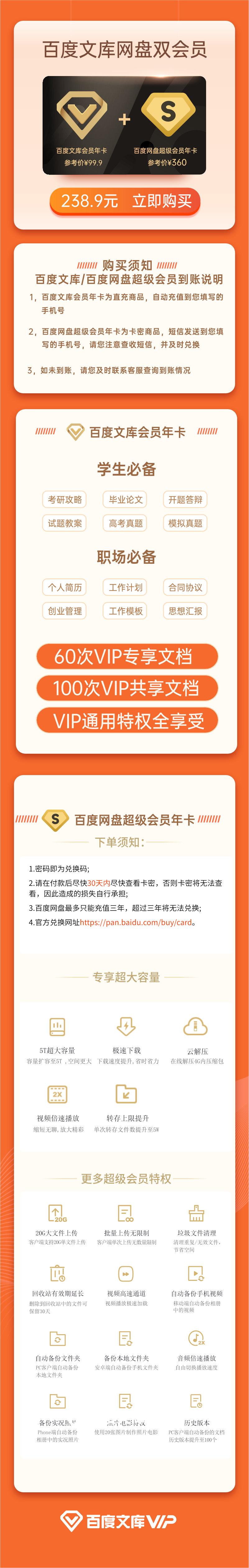 百度学习双会员,百度文库+百度网盘 超级VIP会员 12个月年卡组合 238.9元包邮 买手党-买手聚集的地方