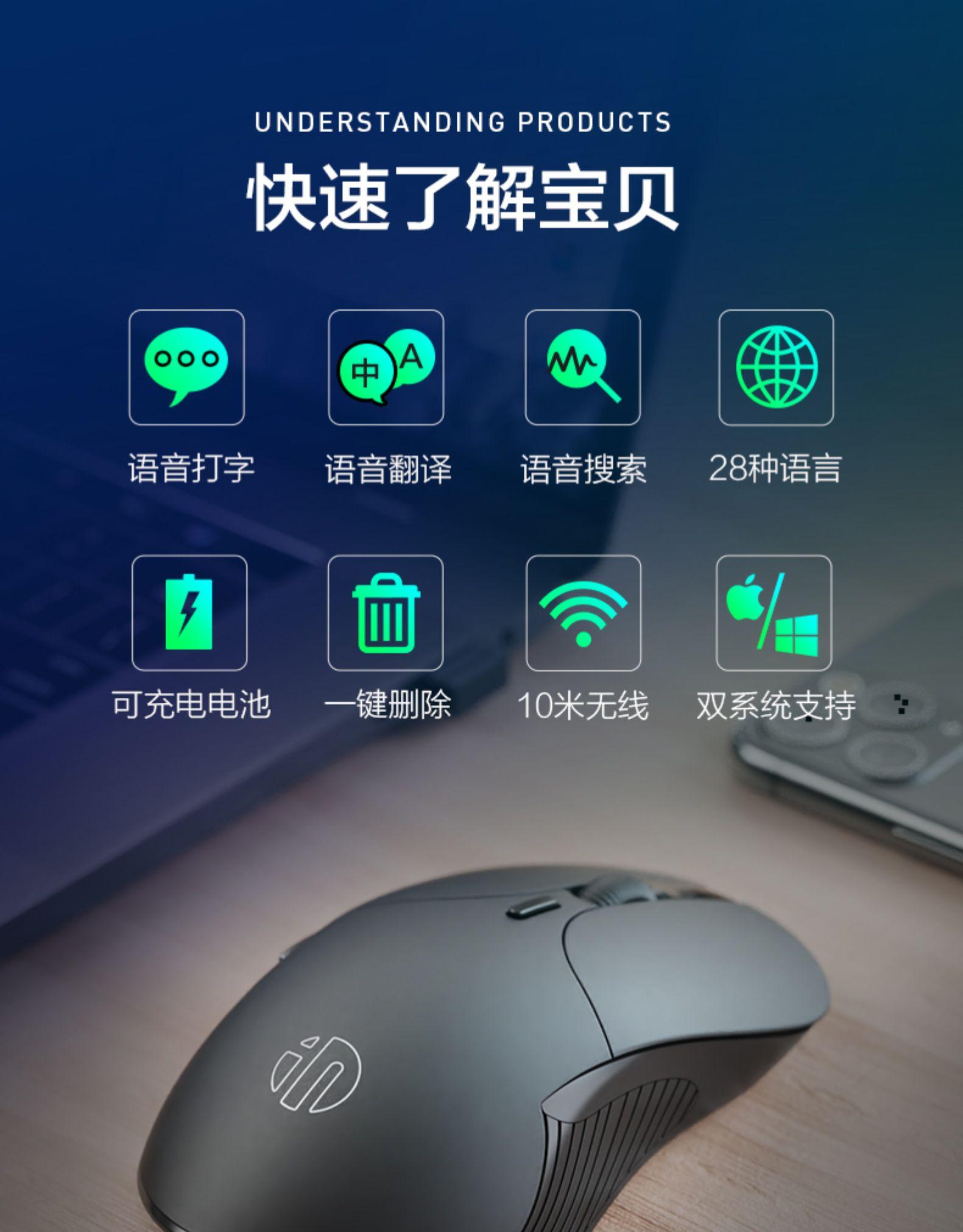 办公效率加倍,科大讯飞语音输入技术,一键翻译:英菲克 AI智能无线鼠标PS6 79元包邮 买手党-买手聚集的地方