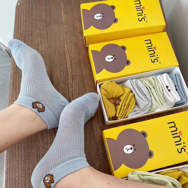 买手甄选团、出口韩国原单:mini's 小熊纯棉网眼袜 5双装 团购价19.9元包邮 买手党-买手聚集的地方