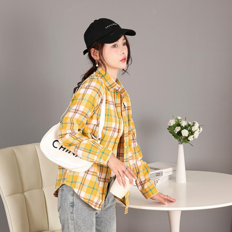 商场同款,正品带防伪:传情豆 女士纯棉刺绣小熊格子长袖衬衫